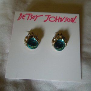 NWT Betsey Johnson Blue Glass Bug Stud Earrings